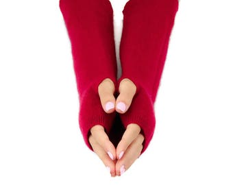 Opera Length Cashmere Fingerless Gloves, Handmade Eco Friendly Gloves, Soft Warm Felted Cashmere, Texting Gloves, Arm Warmers, Wine Red
