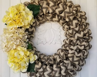 Beautiful Gray Chevron Wreath, Yellow and White Wreath, Spring/Summer Wreath, Front Door Wreath, Burlap Wreath, Burlap Wreath