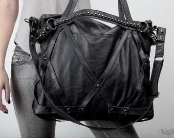 RAGE CAGE Soft Black Leather Haute Macabre Laptop Bag