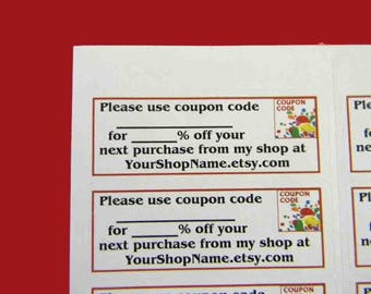30 PERSONALIZED Coupon Code Labels. 1 Sheet of White 1-Inch Labels. 5327