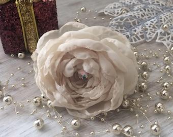 Beige hair accessorize, Pigtail Chiffon flower on elastic holder, Ponytail holder, hair tie set, elastic hair ties, hair jewelry, flower hai
