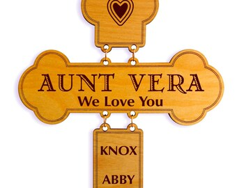 Gift for Aunt from Nieces - from Nephews - Mothers day Gifts - Personalized Auntie Gifts - Great Auntie Gift - Aunt Birthday Cross Gift.