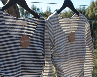 Stripe Organic Cotton / Linen Maternity Long Sleeve Top- fabric from Japan!!