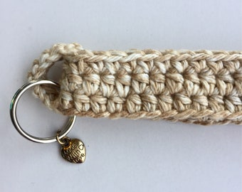 Crocheted Beige White Key Fob, Keychain with Charm