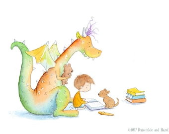 Boy with Brown Hair Reading to Red and Green Dragon - Art Print - Children