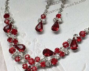 Wedding jewelry set ,bridesmaid jewelry set, Bridal necklace earrings, vintage inspired rhinestone jewelry, Red crystal jewelry set