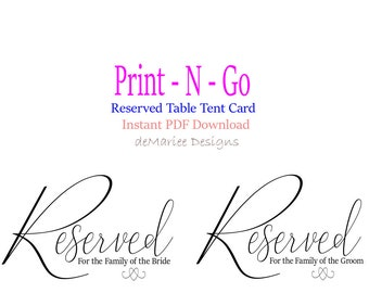 Wedding Printable Sign Reserved Table Tent Wedding Decor Wedding Sign Reserved Sign Family of Bride Groom Reserved wedding printable - WS2