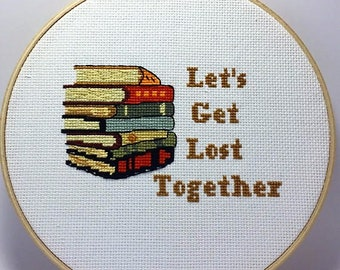 Library Cross Stitch Pattern, Librarian Cross Stitch Pattern, Books Cross Stitch Pattern, Cross Stitch  Books, Book Stack Cross Stitch