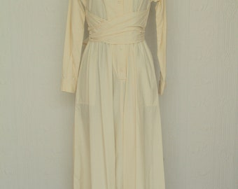 70's Oscar de la Renta cotton floor sweeping long shirt dress