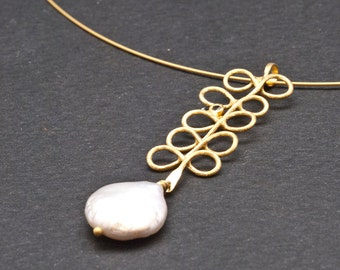 Gold Pearl Pendant Necklace, Unique 18K Solid Gold and Coin Freshwater Pearl Necklace, Statement Gift Necklace for Women, Solid Gold Jewelry