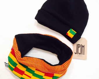 toddler snood , beanie set fits for 2 to 4 years old gift ankara scarf kente scarf and hats