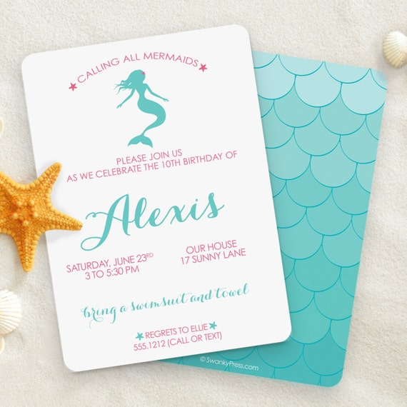 Mermaid Invitation Mermaid Party Mermaid Pool Party