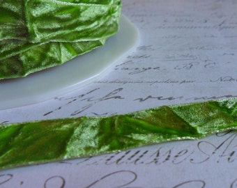 "Spring Green Crushed Velvet Ribbon, Approx 5/8"" wide"