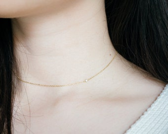 Solid 18K gold diamond sideways choker necklace rose gold delicate wedding necklace white gold diamond necklace choker