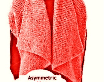 Asymmetric Vest Shrug PDF Knitting Pattern Tutorial  Avant-Gard Unbalanced Design Is not a finished product. It is a PDF Pattern
