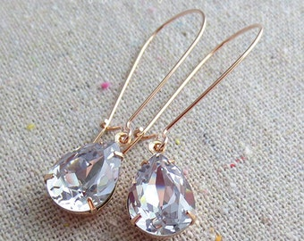 Swarovski Pale Mauve Pear Crystal Long Dangling Teardrop Tear Drop Rose Gold Yellow Gold Silver Bridal Earrings Wedding Bridesmaids Gifts