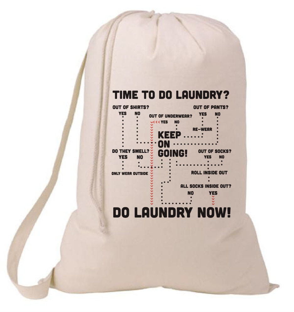 Grad gift time to do the laundry flow chart laundry bag - Graduation gift for interior design student ...