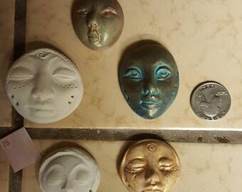 DESTASH  set of 5 polymer clay faces