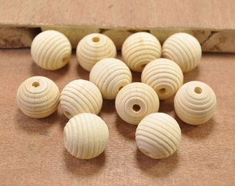 50pcs Thread Wood Bead,Corrugated Round Unfinished Wooden Beads,spacer beads,Chunky Wood Beads - 17x16mm.