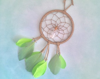 Crystal and Green, DreamCatcher, organic Lavender oil, Herkimer Crystals, Dream Catcher, Gold Painted, essential oil, Herkimer Diamonds