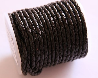 braided leather cord round chocolate, 3 mm, 2 m