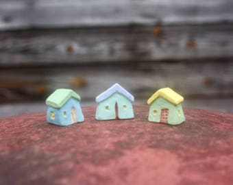3 very tiny stoneware clay houses, hand carved, OOAK