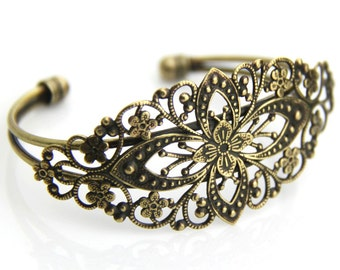 10 pcs of brass cuff bracelet with brass filigree -5509-antique bronze
