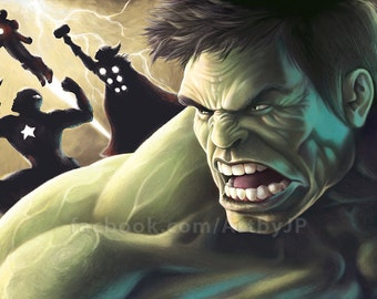 Hulk and the Avengers Epic Painting Poster Print