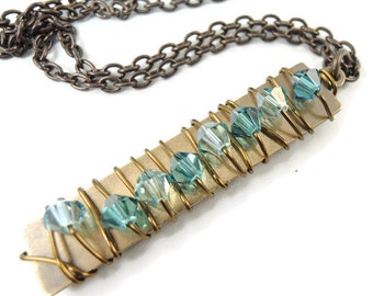Crystal Pillar Necklace in Sea Blue Green