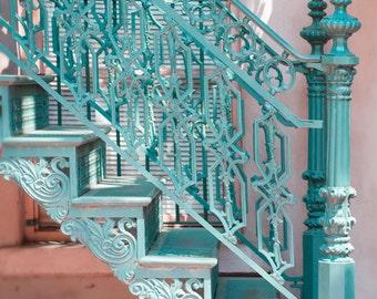 Travel Photography - Savannah, Georgia, Teal Staircase, Southern Gothic Romantic Wall Decor