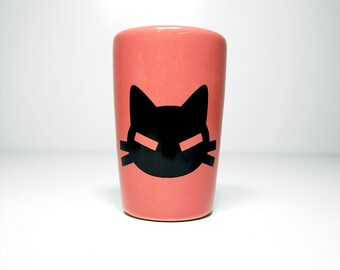 itty bitty cylinder with a bad kitty print shown here on Bubblegum Pink glaze - Made to Order / Pick Your Colour