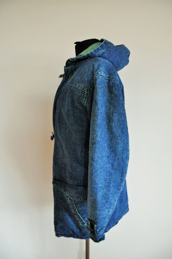Oversize Denim Grunge Medium Vintage Lined inside Outwear Oversized Blazer Coat Jean Autumn warm m Jacket qx44wAYf1