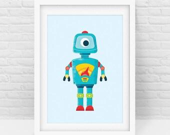 Robot print – Blue Robot Wall Art Print, Robots, Nursery Decor, Baby room print, Wall Art, Digital Download, Scalable Printable - All sizes