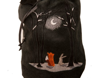 Black grey leather bag moonlit night embroidery winter fashion drawstring bucket bag duffle duffel gym purse boho shoulder fox bunny fantasy