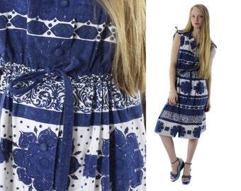 70s Sundress Sleeveless Dress Ethnic Blue White Floral 1970s Medium M Hippie Dress Bohemian Midi Skirt