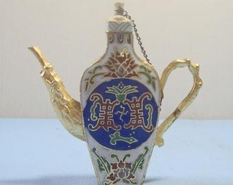 Vintage miniature cloisonne teapot wine decanter hand crafted circa mid Century