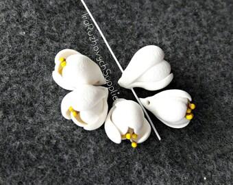 5 pcs. Freesia, polymer clay flowers,  flower bead