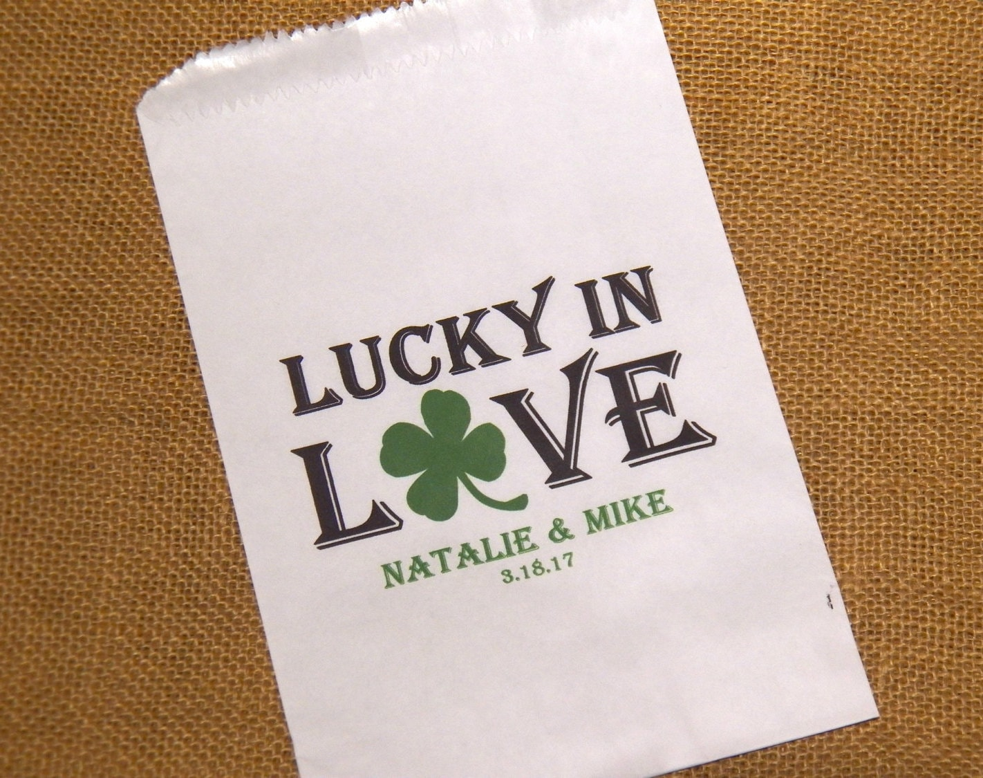 50 Wedding Favor Bags Personalized Candy Buffet Bag Lucky in