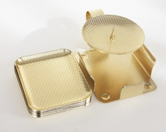 Vintage Smoking set | Candle holder and six small ashtrays | Golden metal and graphic pattern | Germany. 1950.