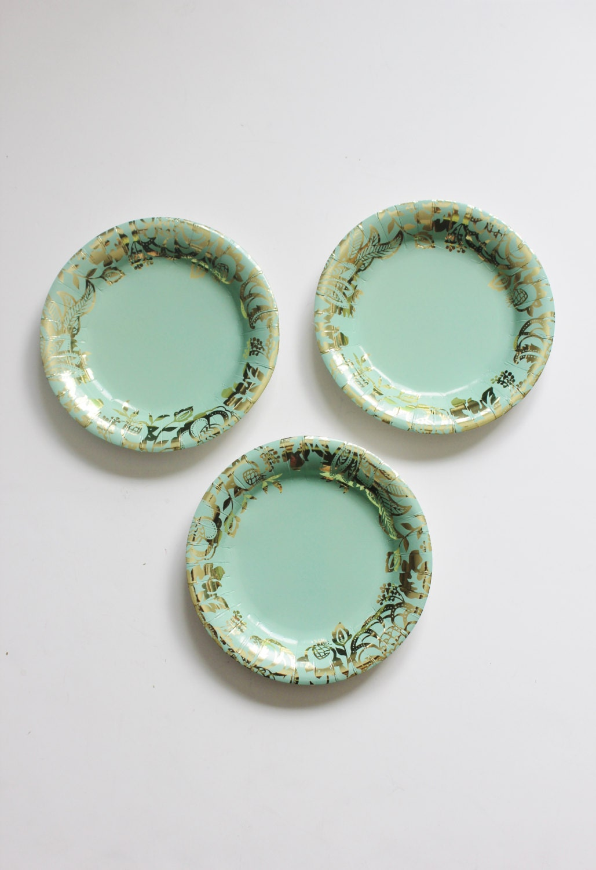 🔎zoom & 8 FLORAL TEA PARTY Mint Paper Plates Gold Parisian Vintage
