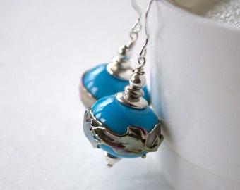 Large Sky Blue Earrings, Light Weight Hollow Earrings, Glass Bead Earrings, Metallic Silver Band Earrings, Lampwork Glass Earrings