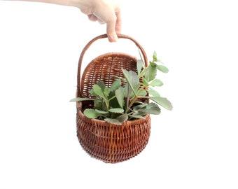 Hanging Wicker Planter Basket, Bohemian Style Wall Decor