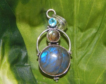 WA Norse Tiger guardian inspired vessel - Handcrafted Labradorite Aquamarine pendant necklace