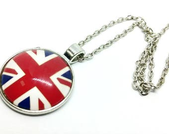 x 1 Cabochon necklace pendant with chain - England London Union jack - in silver