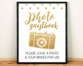 Wedding Photo Guestbook Sign Please Sign our Photo Guestbook 8x10 Gold Glitter Printable Digital Golden Sign INSTANT DOWNLOAD 300dpi