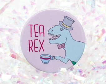 Tea Rex dinosaur pin button badge funny badge t rex pinback button t-rex dinosaur gift tea lover gift tea lover 38mm badge gifts under 5