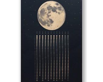 Lunar 2018, risograph, A3 gold metallic