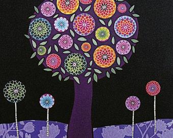 Purple Tree Abstract Painting Art Print on Wood Modern Collage