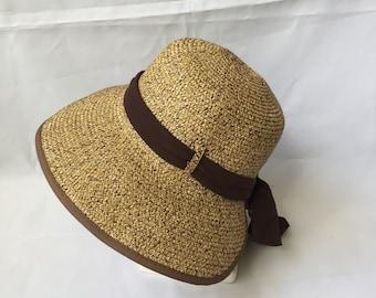 Adjustable Lady Straw Sun Hat 4inch brim (Brown)