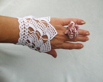 PDF Tutorial  Crochet Pattern,   Fingerless Crochet  Wedding Gloves, Wrist Warmers